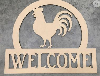 BLANK Welcome Rooster Ornament, Attachment or Door Hanger