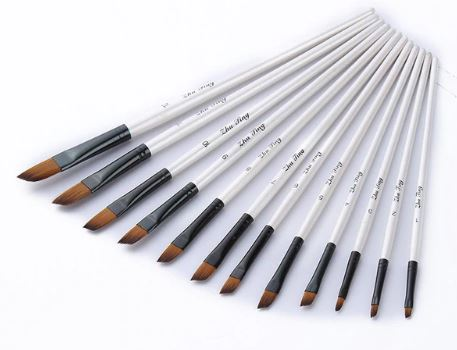 White Angle Tip Paint Brush Set of 12