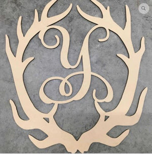 Antlers with Monogram Wooden BLANK