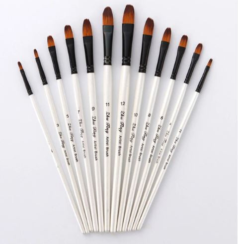 White Filbert Tip Paint Brush Set of 12