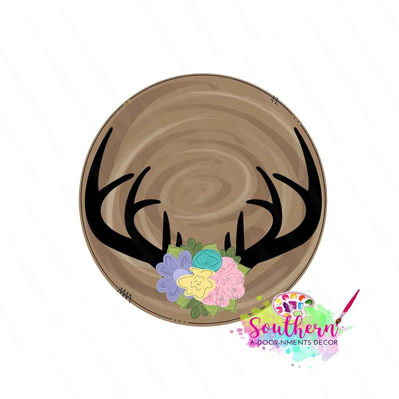 Floral Antlers Wooden Blank