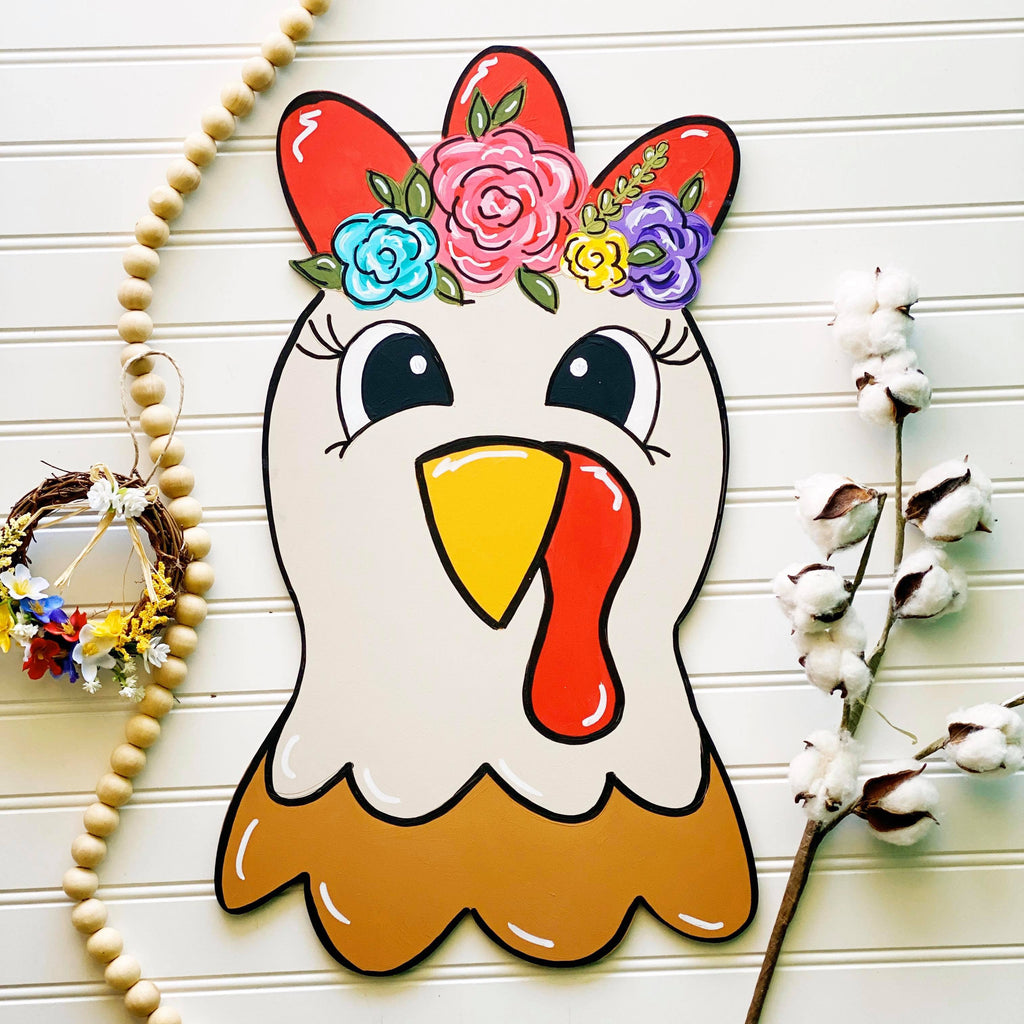 Floral Chicken Door Hanger PAINTED