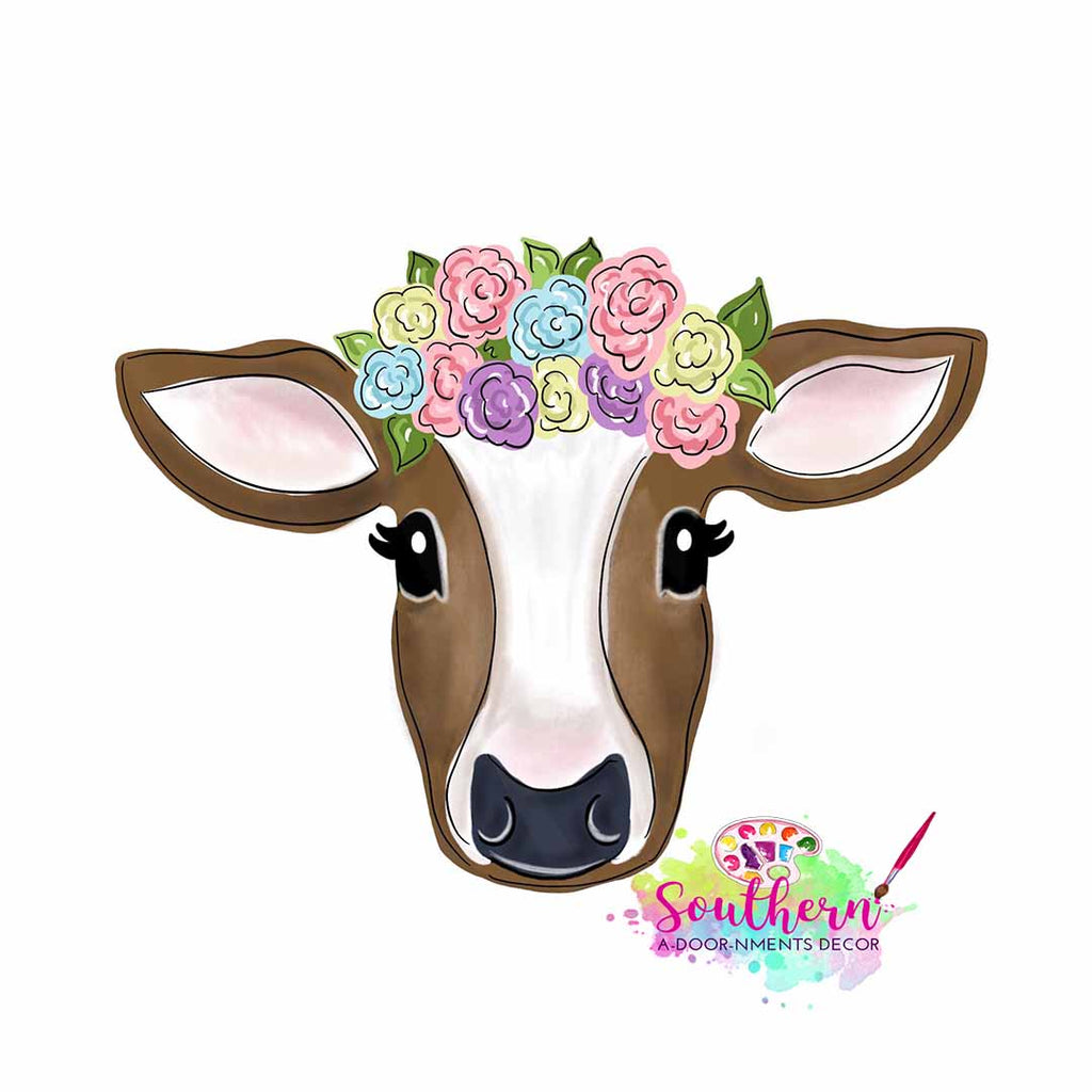 Floral Cow Wooden Blank