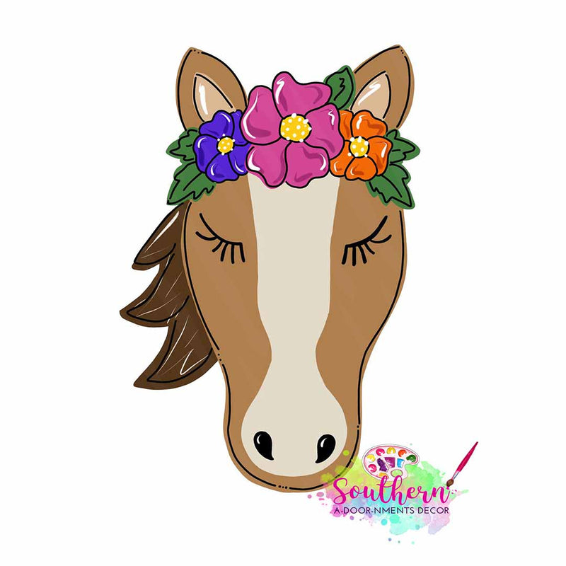 Floral Horse Wooden Blank