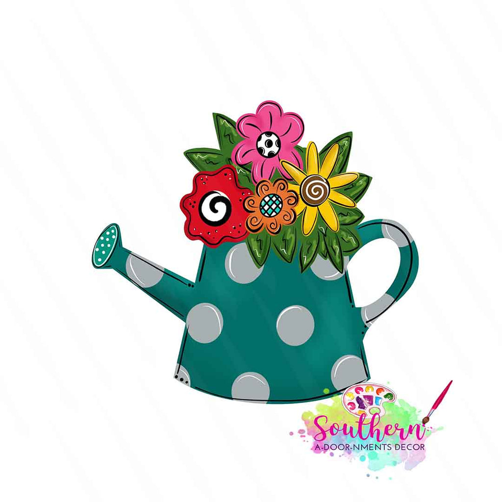 Floral Watering Can Wooden Blank