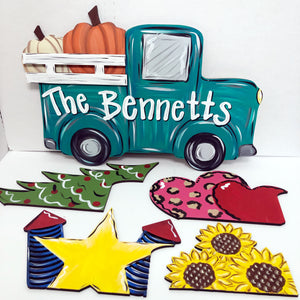 PAINTED Truck with Attachments Door Hanger