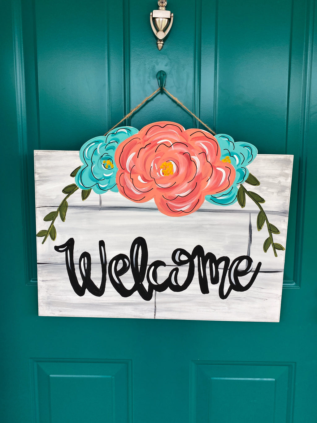 Floral Shiplap Welcome Door Hanger PAINTED