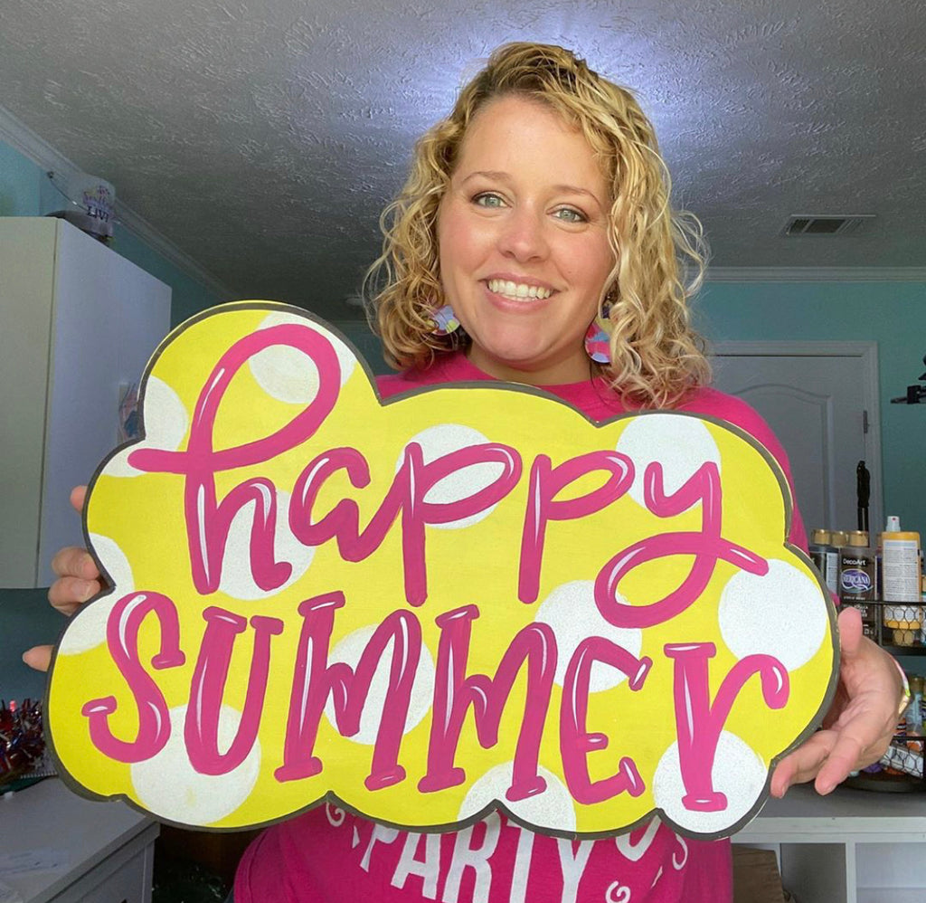 Happy Summer Door Hanger PAINTED