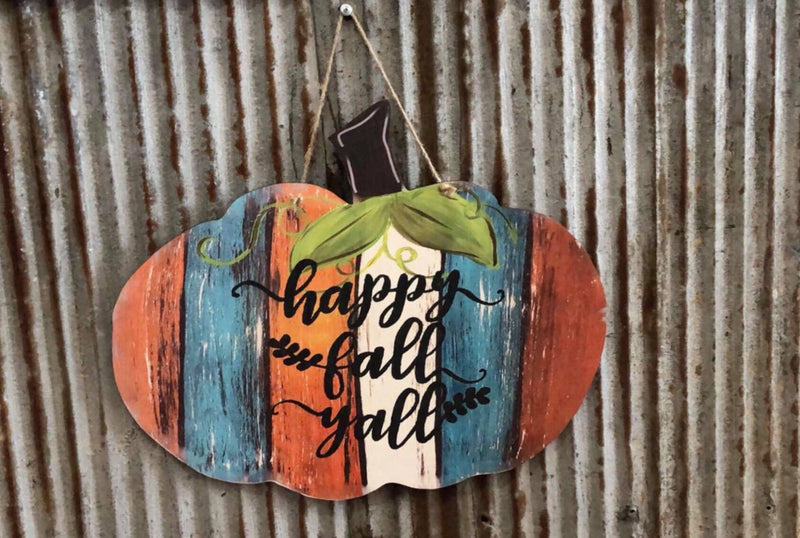 Happy Fall Y'all Pumpkin Door Hanger PAINTED