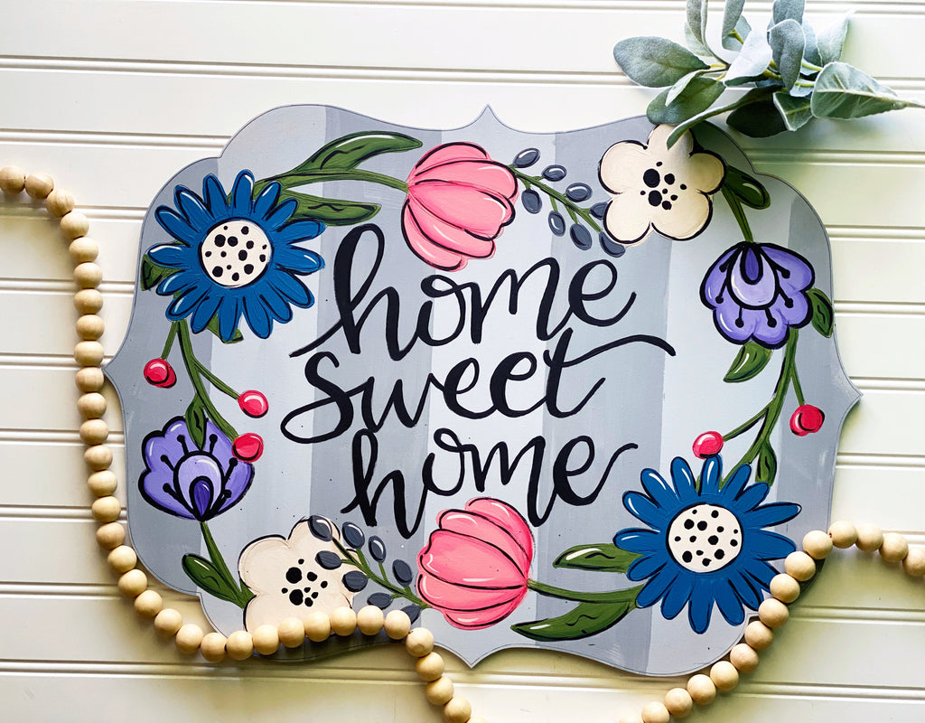 Floral Home Sweet Home Door Hanger PAINTED