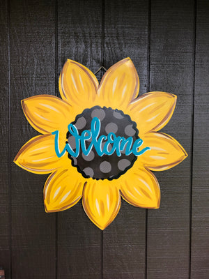 PAINTED Sunflower Door Hanger