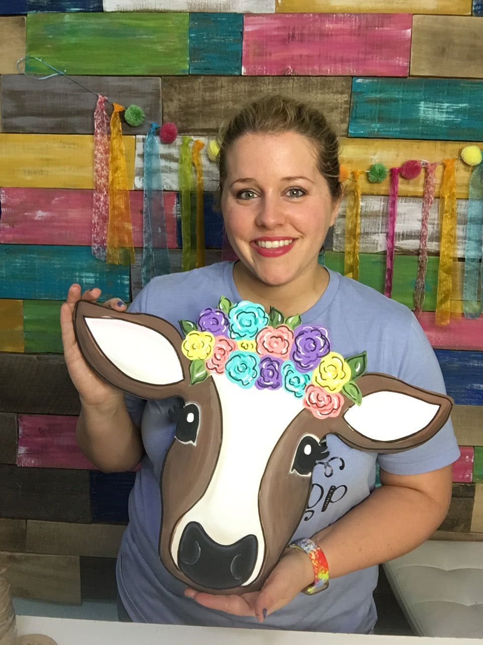 Floral Cow Door Hanger PAINTED