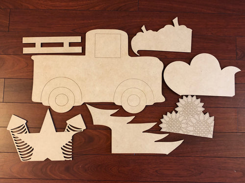 Truck with Attachments Wooden Blank
