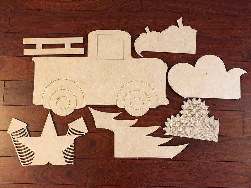 Truck with Attachments BLANK Ornament, Attachment or Door Hanger
