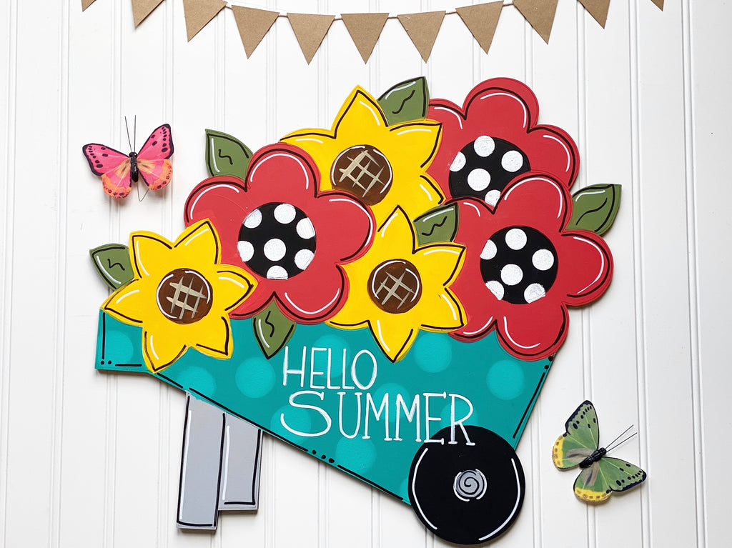 Flower Wheelbarrow Door Hanger PAINTED