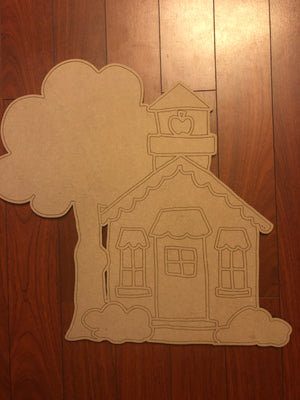 School House BLANK Ornament, Attachment or Door Hanger