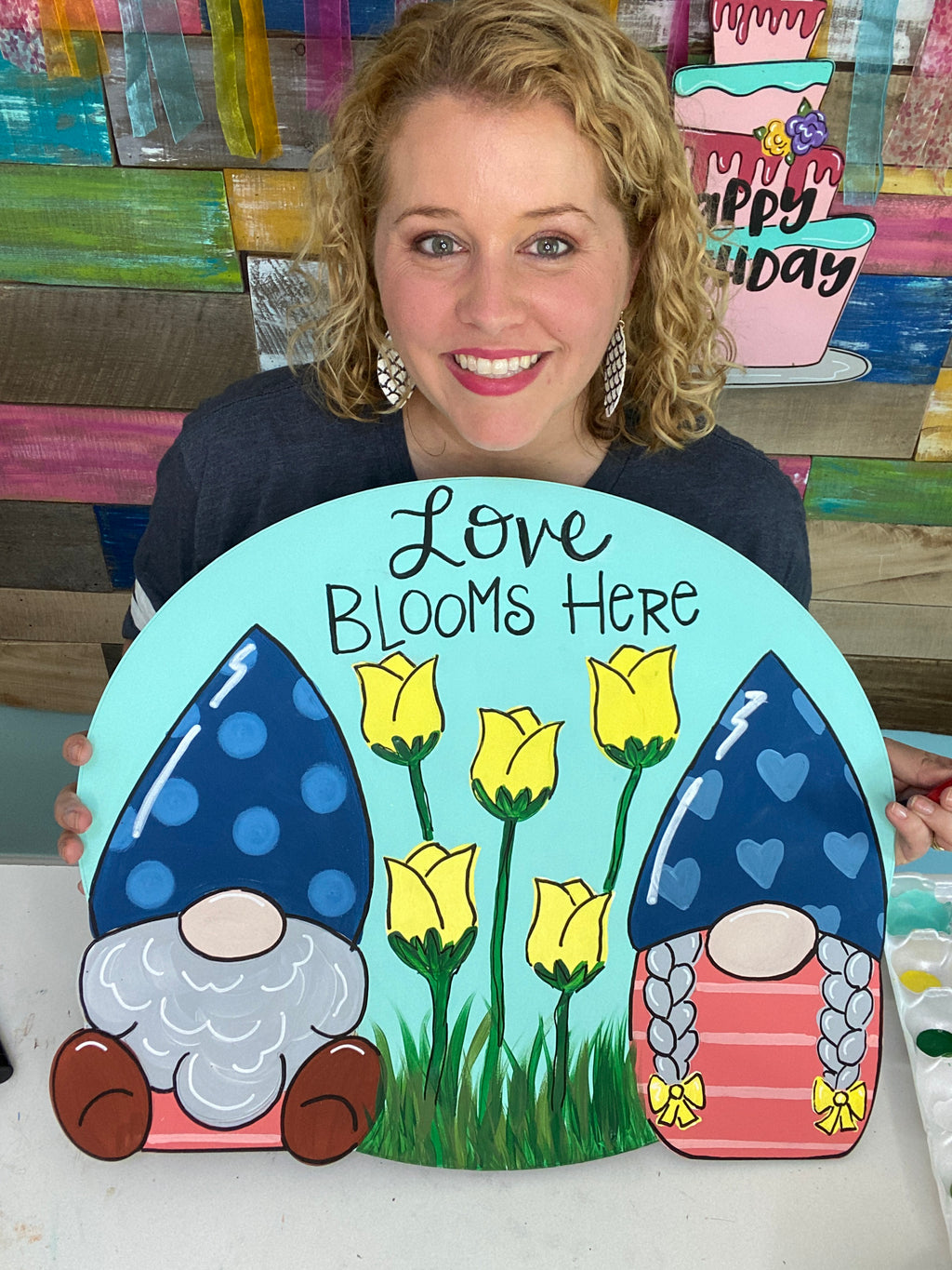 Gnome Garden Door Hanger PAINTED