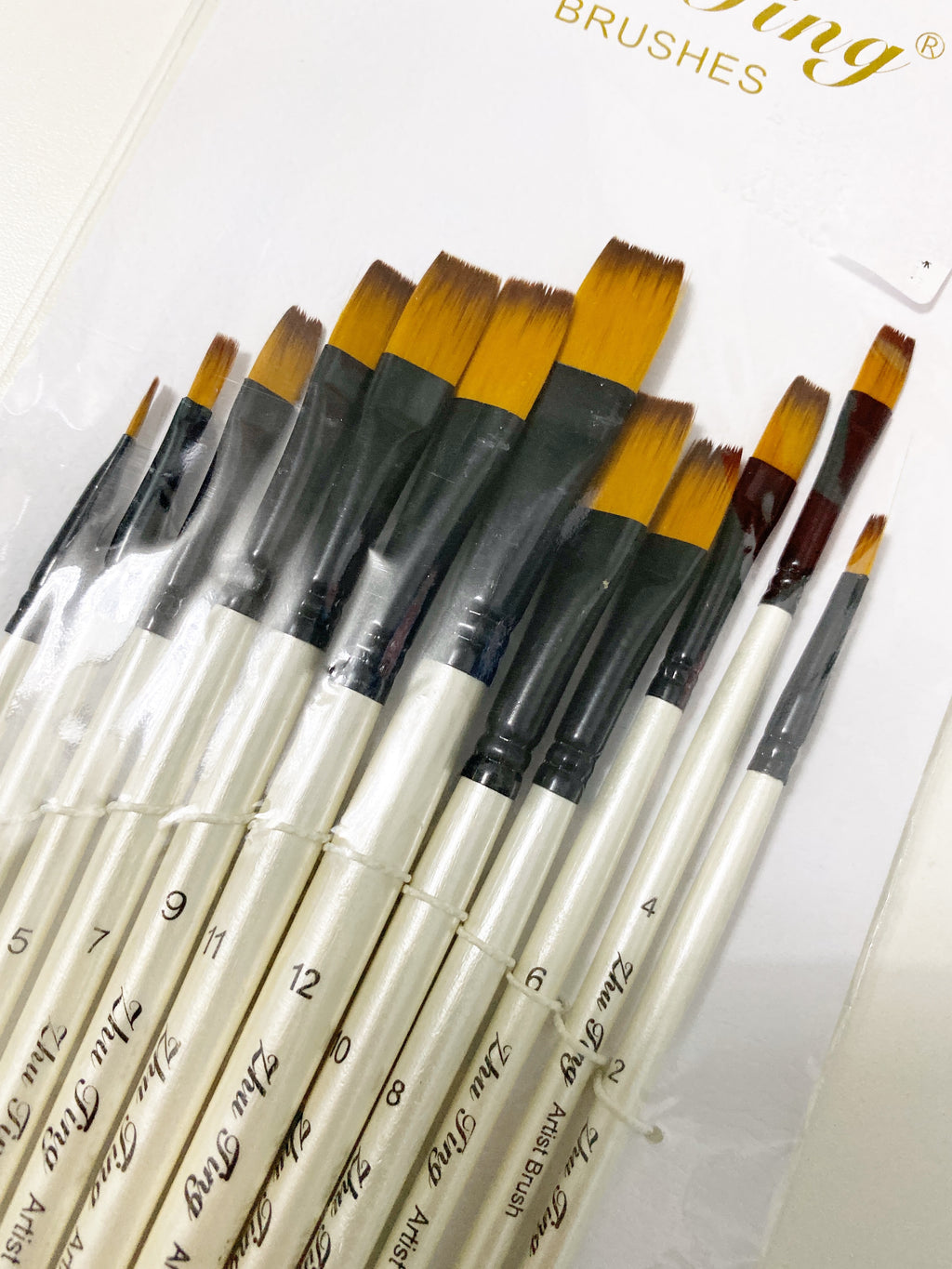 White Flat Tip Paint Brush Set of 12