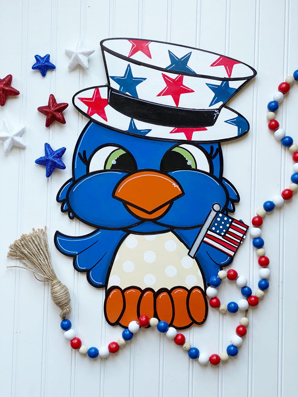 Patriotic Owl Door Hanger PAINTED