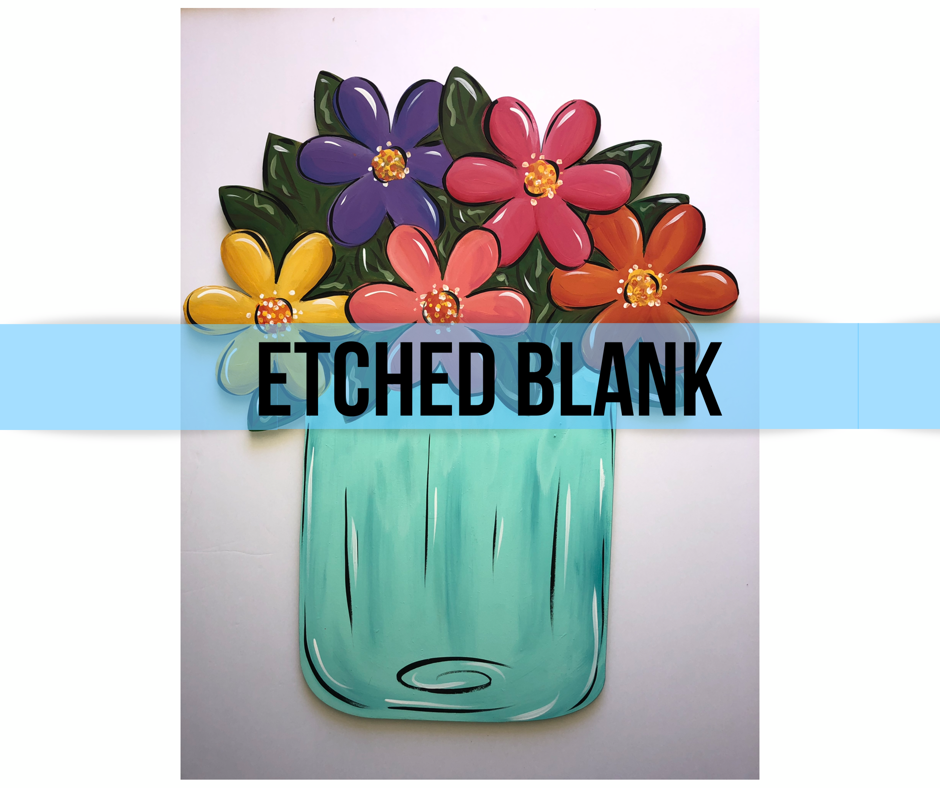 BLANK Flower Jar Ornament, Attachment or Door Hanger