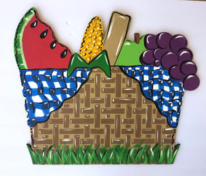 Picnic Basket Door Hanger PAINTED