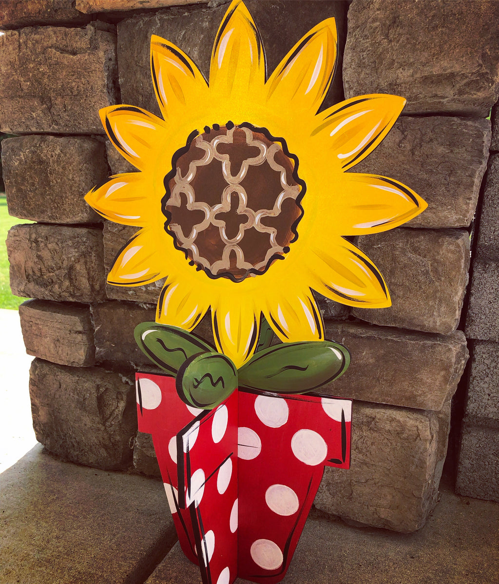 3D Sunflower Pot Porch Sitter