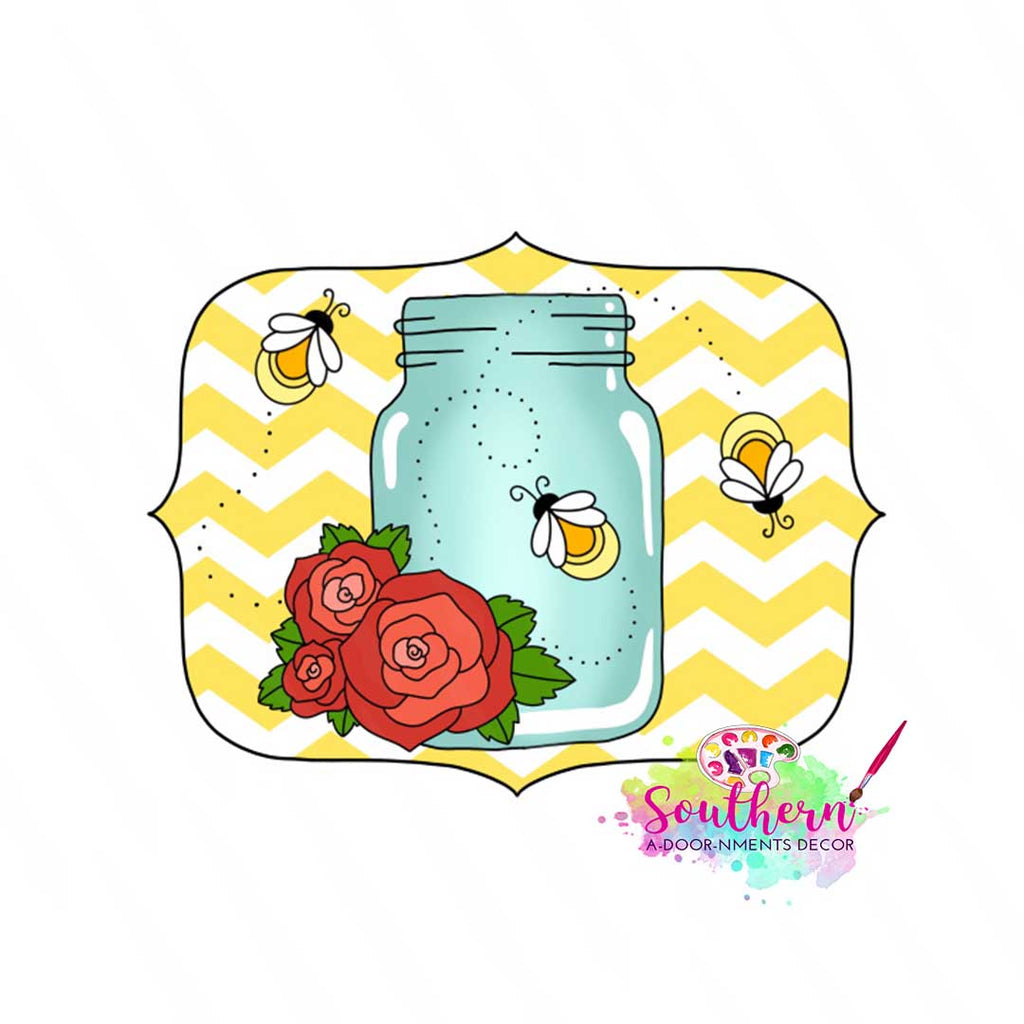 Mason Jar with Fireflies Wood Blank