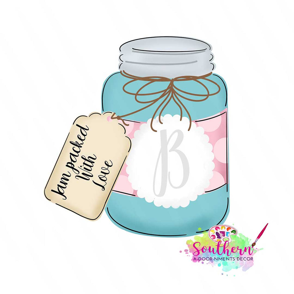 Mason Jar with Tag Wood Blank
