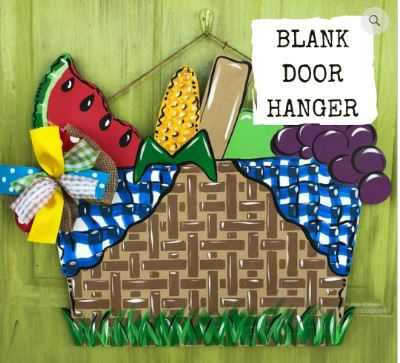 BLANK Picnic Basket Ornament, Attachment or Door Hanger