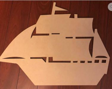 BLANK Pirate Ship Ornament, Attachment or Door Hanger