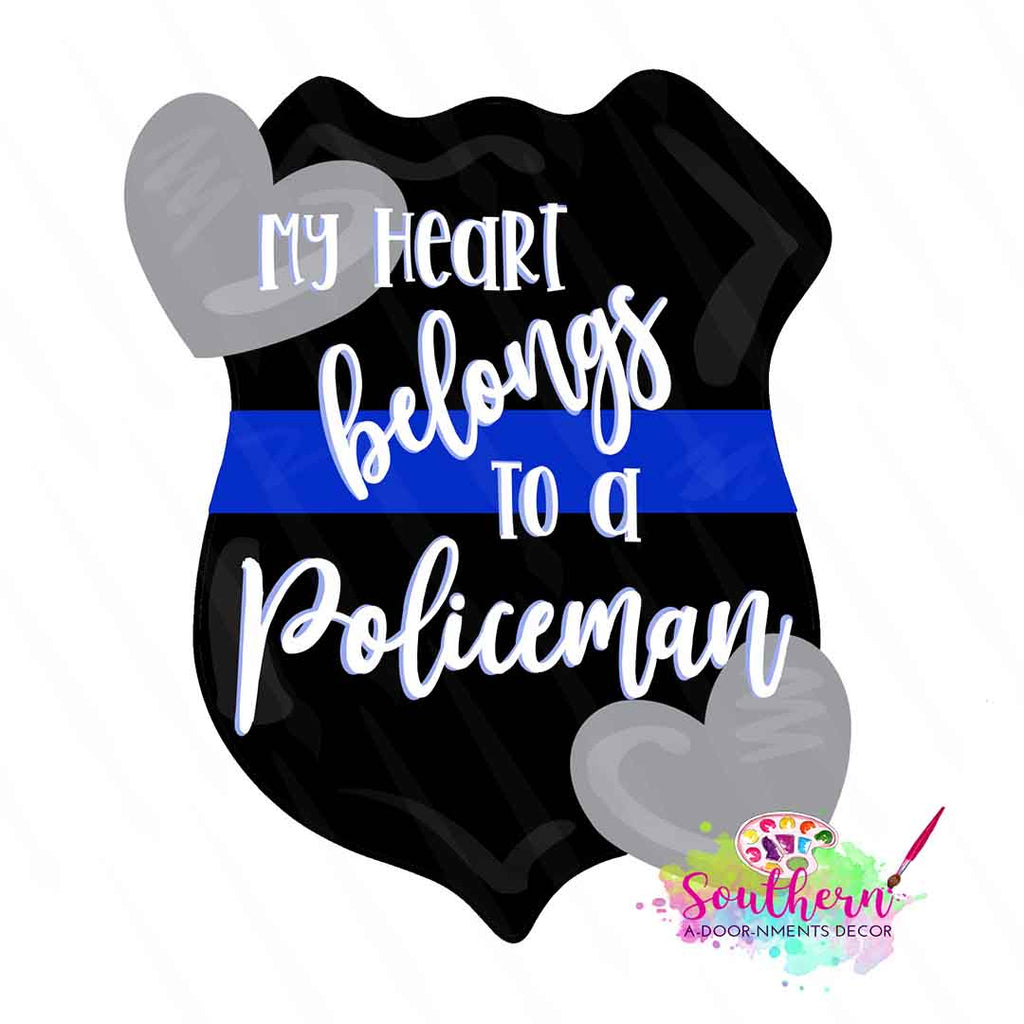 My Heart belongs to a Policeman Template & Digital Cut File