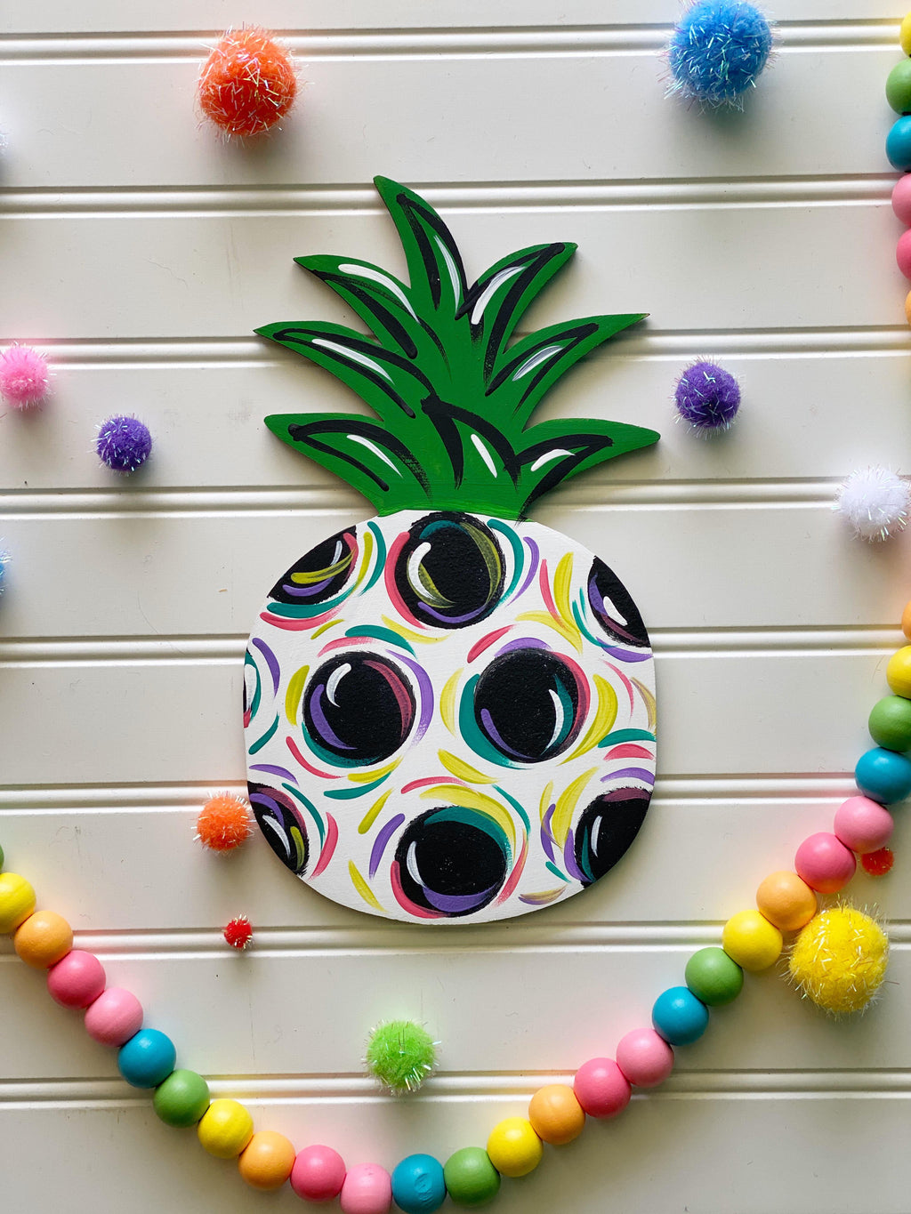 Polka Dot Pineapple Door Hanger PAINTED