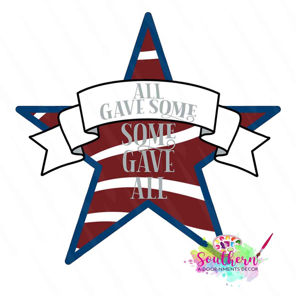 Blank Patriotic Star Ornament, Attachment or Door Hanger