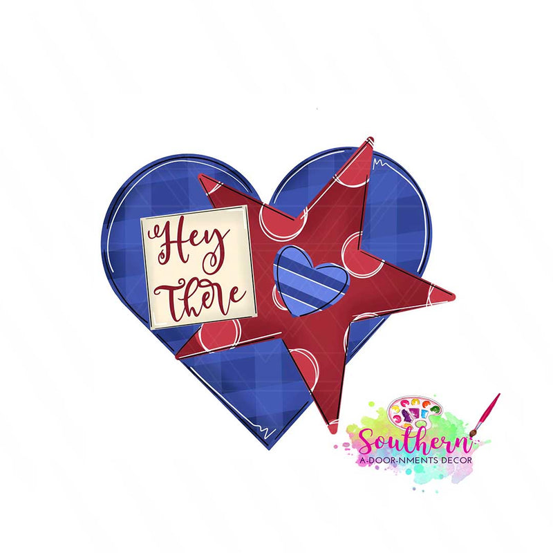 Hey There with star and heart Template & Digital Cut File
