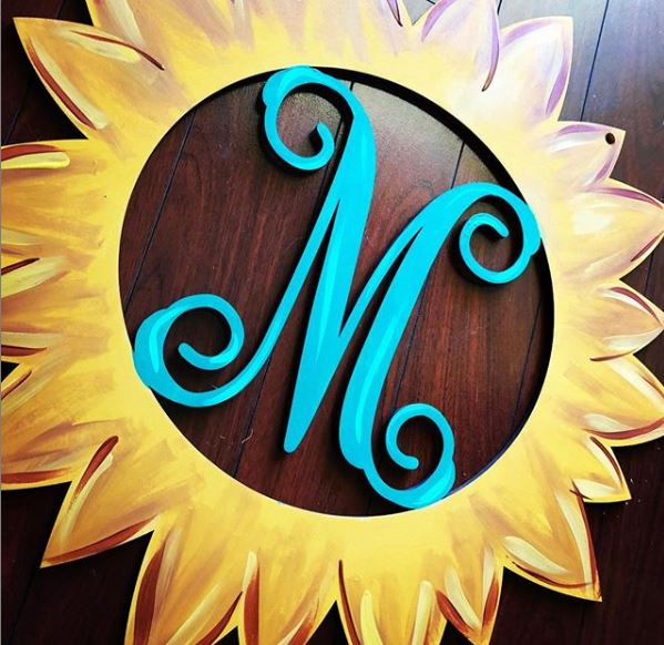 BLANK Sunflower Monogram Ornament, Attachment or Door Hanger
