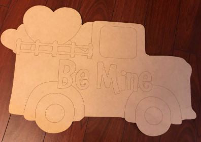 Etched BLANK Valentine Truck Ornament, Attachment or Door Hanger