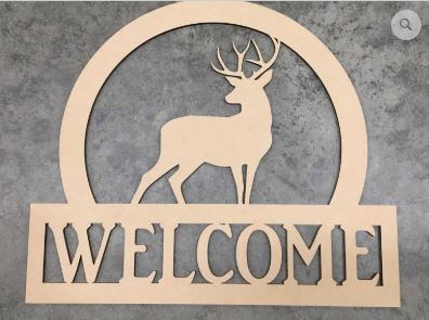 BLANK Welcome Deer Ornament, Attachment or Door Hanger