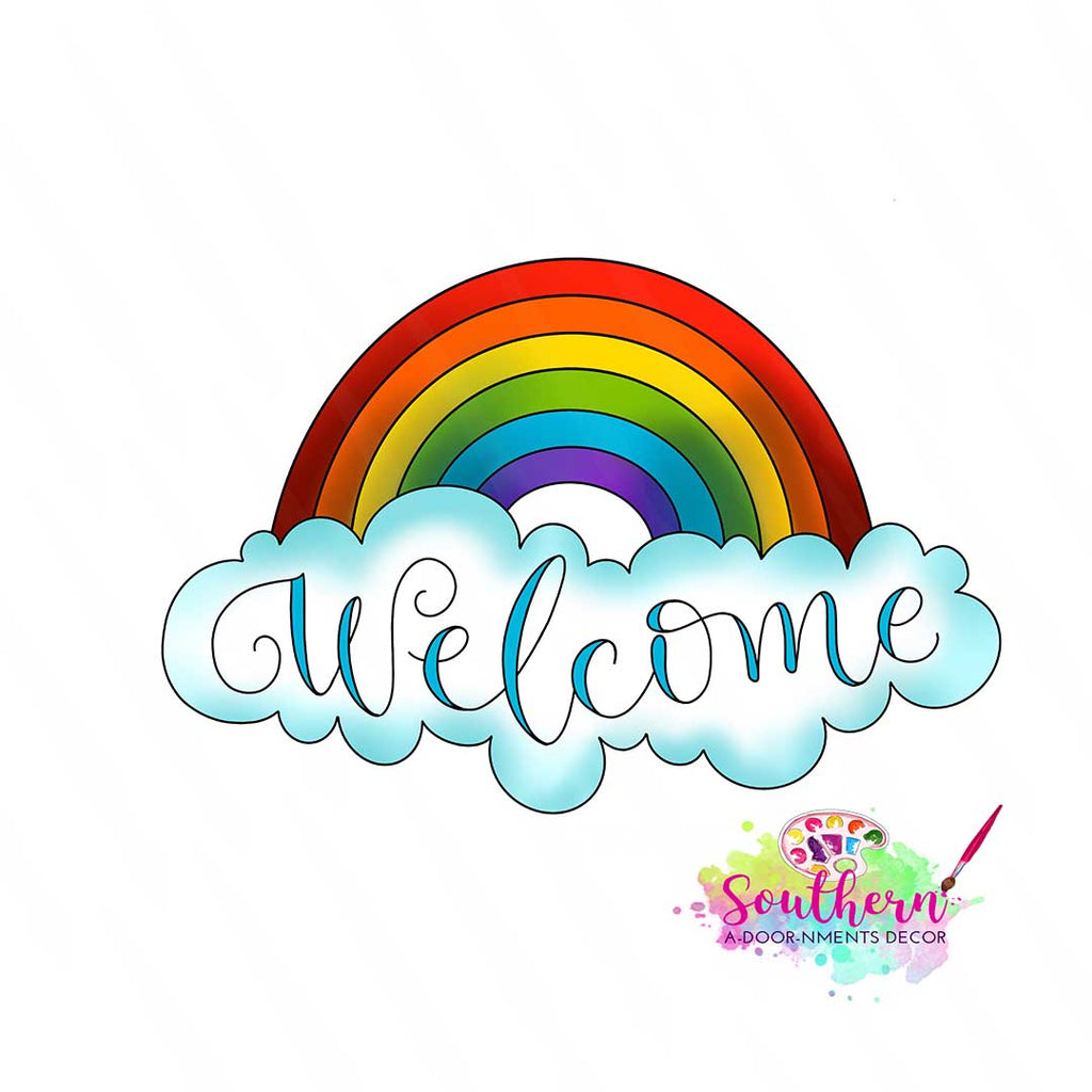 Welcome Rainbow Wooden Blank