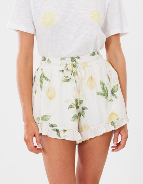 Capri Beach Short - Lemon Floral