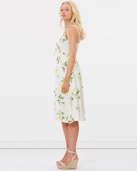 Capri Midi Dress - Lemon Floral