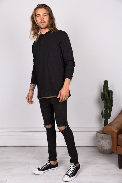 Linen Blend Button Up - Black