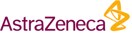 AstraZeneca corporate logo in maroon with yellow helix icon at right
