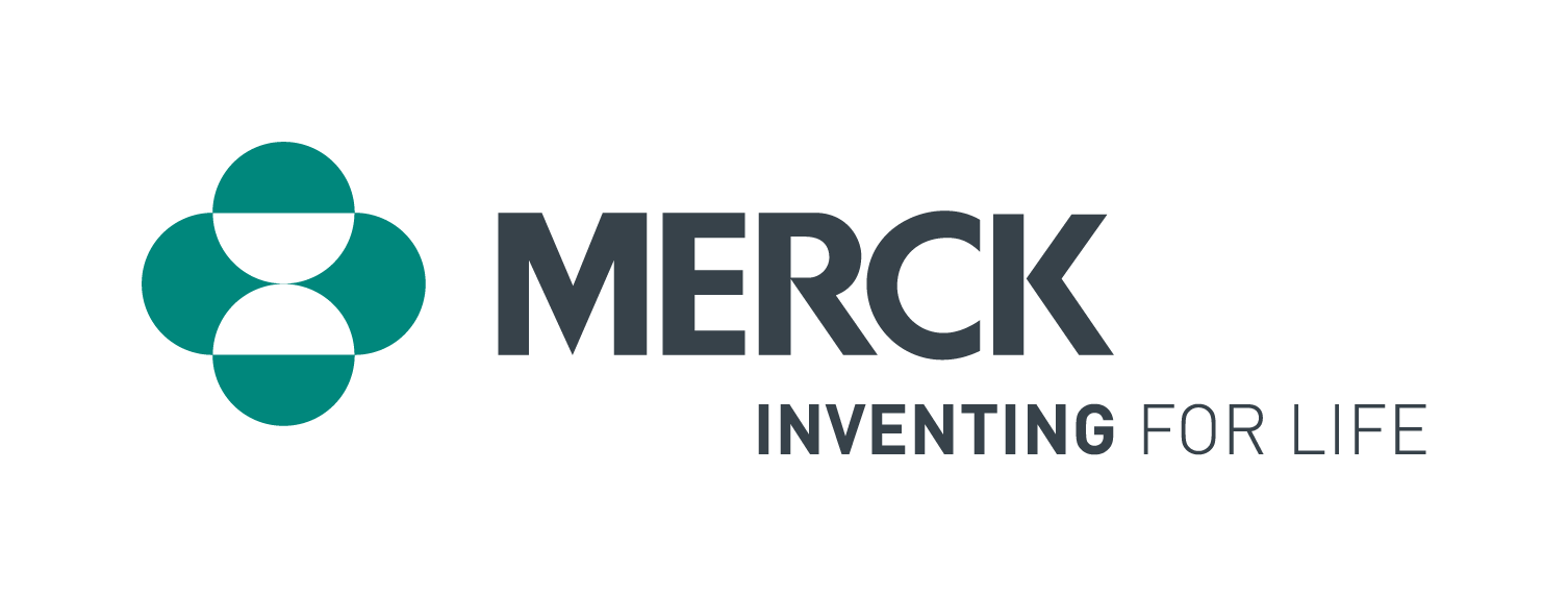 Merck Inventing for Life corporate logo in black with green icon on left