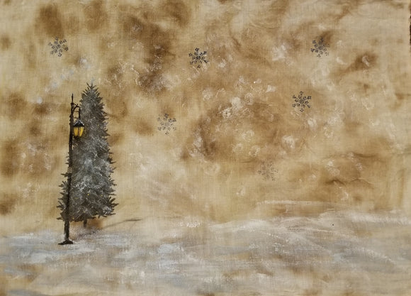 Winter Wonderland With Lantern- Printed & Painted Linen- Fat 1/8th or Fat 1/4