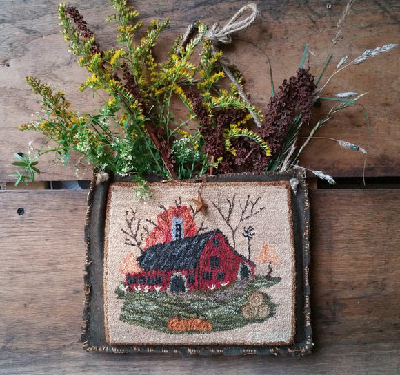 My Original Model For My Little Autumn Barn - Punch Needle Diddy Bag