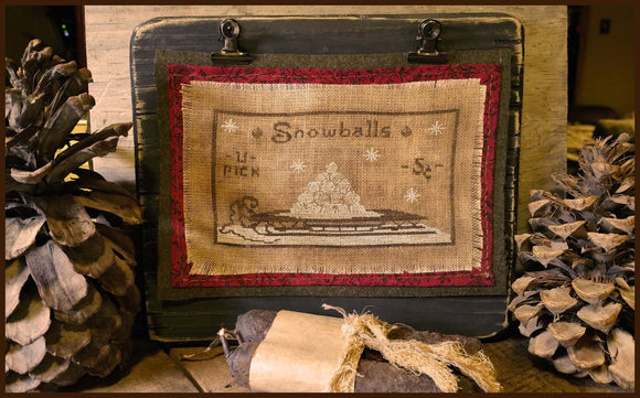 Snowballs- 5 Cents- Winter Cross Stitch On Our Original Chunky Clipboards- Original Model For My Stitched Pattern