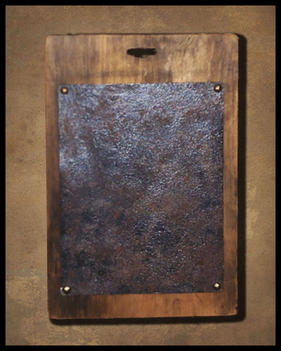Wood And Faux Rusted Metal Center - Finishing Boards- For Stitching, Punching, And Creative Finishes