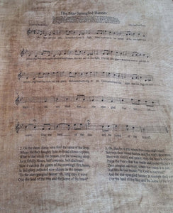 Star Spangled Banner Printed Music Sheet- 8 x 10 Print on 14 x 16 Fabric- Choose Linen Count & Price- Drop Down Menu