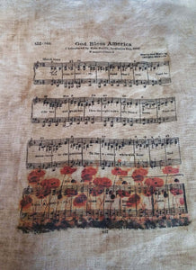 God Bless America Music Sheet W/Poppies- 8 x 10 Print on 14 x 16 Fabric- Choose Linen Count & Price- Drop Down Menu