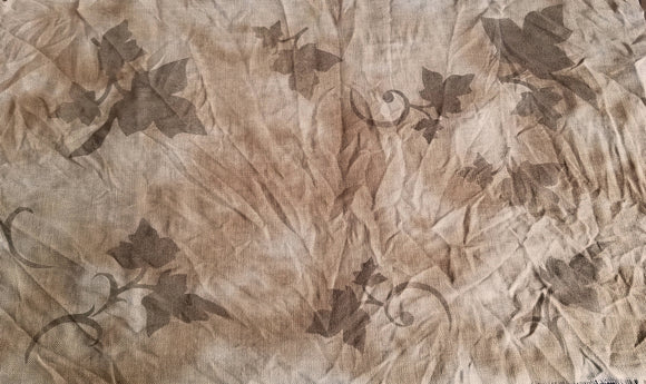 Leaves- Sepia Print- Prim Coffee Stained- Cross Stitch Fabric - Fabric Choices/Prices Drop Down Menu
